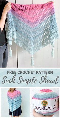 Such Simple Shawl - free crochet pattern for beginners on Including video tutorial crochet pattern shawl scarf shawlette free lionbrand mandala mandalayarn mandalacake One Skein Crochet, Crochet Shawl Free, Gilet Crochet, Crochet Shawls And Wraps, Double Crochet, Crochet Stitches, Crochet Scarves, Crochet Prayer Shawls, Beginner Crochet Scarf