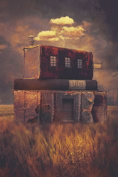 The Bookstore is one of my digital artworks from 2014and was created using photoshop and my own images.I like the idea to completely dive into another reality while reading.And the idea to live inside those books has only been the next step...