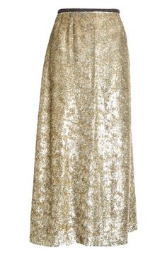 The flared A-line cut of this enchanting gold metallic midi skirt is universally flattering.