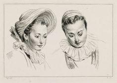 Deux têtes de femme à grandes fraises dont l'une porte un chapeau de paille Watteau, Jean-Antoine  © Musée du Louvre, dist. RMN / Angèle Dequier Département des Arts graphiques