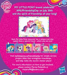 International Friendship Day focuses on the importance of friendship, just like the characters in My Little Pony. International Day of Friendship Giveaway International Friendship Day, International Day, My Little Pony Characters, Which One Are You, My Little Pony Friendship, Little My, Activities For Kids, Laughter, Giveaways