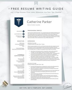 Nursing Resume Template for Word & Pages Nurse Resume Doctor Nursing Resume Template, Modern Resume Template, Resume Template Free, Templates Free, Job Resume, Basic Resume, Visual Resume, Resume Writing Tips, Writing Guide