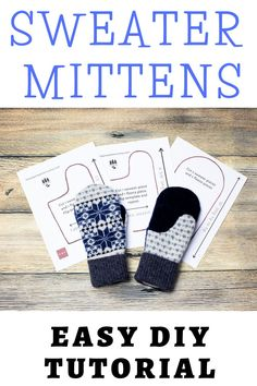 Sewing Hacks, Sewing Tutorials, Sewing Crafts, Sewing Projects, Sewing Ideas, Christmas Knitting Patterns, Baby Knitting Patterns, Pattern Sewing, Sweater Mittens