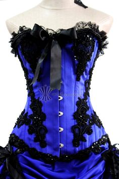 Sexy Womens Blue Corset Prom Dresses Burlesque Corset Tops Gothic Skirt Outfit Short Party Dresses -- Corsette,Waist Training,Corset Dress,Plus Size Corsets,Wholesale Corsets