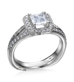 A. Jaffe - Signature Collection 18K White Gold Split Princess Setting