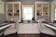 home office for two, interior design ideas instead of cabinets under window I want a reading nook