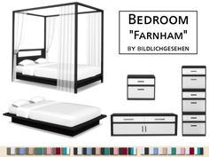 Farnham Bedroom Set by Bildlichgesehen The Sims 4 Pc, Sims Four, Sims Cc, Sims 4 Cc Furniture, Bedroom Furniture, Maxis, Sims 4 Beds, Rangement Makeup, Muebles Sims 4 Cc
