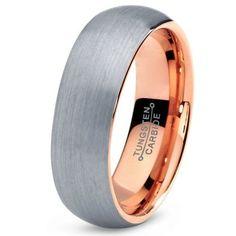 Charming Jewelers Tungsten Wedding Band Ring Black 9mm Men Women Comfort Fit 18k Rose Gold Flat Cut Brushed Polished