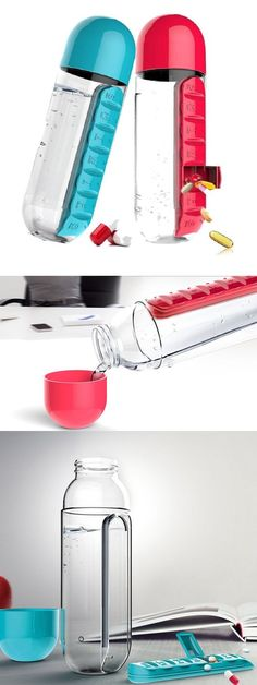 Check out this unique water bottle & weekly pill container. 2-in-1 with the cap as a glass. Loving this unique product idea. //#SelfCare #Hydrate #HealthySkin