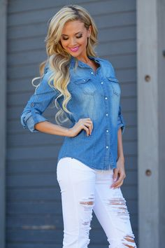 Essential Chambray Top - Blue Wash from Closet Candy Boutique #fashion #shop