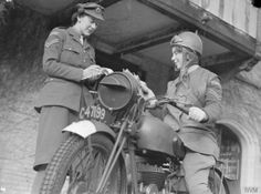 Motorcycle messenger at the Auxiliary Territorial Service (ATS) training centre, Camberley, 1941. D 5721