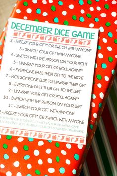 December dice gift exchange game
