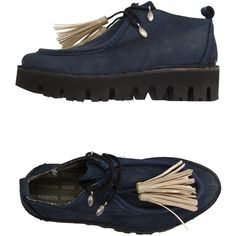 Passion Goos Lace-up Shoe featuring polyvore, women's fashion, shoes, slate blue, leather footwear, tassel shoes, leather shoes, real leather shoes and genuine leather shoes