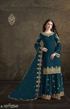 Checkout this latest Suits Product Name: *Super model bottle Rangoli green georgette satin Palazo style Suit* Top Fabric: Georgette + Top Length: 0-2.00 Bottom Fabric: Georgette + Bottom Length: 2.25 Meters Dupatta Fabric: Georgette + Dupatta Length: 2.1 Meters Lining Fabric: Shantoon Type: Un Stitched Pattern: Embroidered Multipack: Single Country of Origin: India Easy Returns Available In Case Of Any Issue   Catalog Rating: ★4.1 (285)  Catalog Name: Aishani Voguish Semi-Stitched Suits CatalogID_1968250 C74-SC1522 Code: 8841-10712541-8124