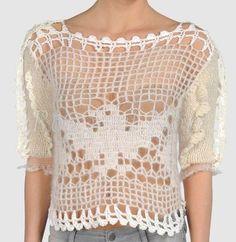 Rodarte - white short sleeve crochet sweater
