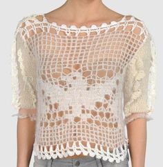 Rodarte - white filet crochet sweater w/ short knit sleeves