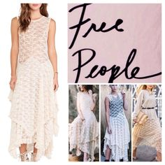 """Free People French Court Lace Maxi Dress.  NWT. Free People French Court Sheer Lace Maxi Dress, 92% nylon, 8% spandex, machine washable, 19"""" armpit to armpit (38""""'all around), 51"""" longest point length, unlined, uneven hem, sleeveless, round neck, deep scoop back, sheer lace fabric, layered, pullover style, measurements are approx.  No Trades..... Free People Dresses Maxi"""