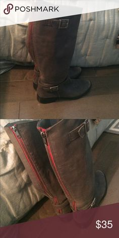 7.5 Matisse gray riding boots with leather zip Matisse gray riding boots with red zipper, super cute! Shoes Combat & Moto Boots