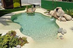 If You Read Nothing Else Today, Read This Report on Outdoor Swimming Pool Backyard - Outdoors - Natural swimming pools Beach Entry Pool, Backyard Beach, Small Backyard Pools, Backyard Pool Designs, Small Pools, Swimming Pools Backyard, Swimming Pool Designs, Pool Landscaping, Outdoor Pool