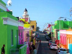 mundo, cores Bo-kaap, Cidade do Cabo, África do Sul