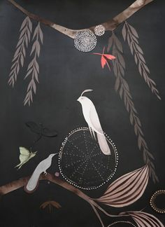 """Lena Wolf, one of my favortites!  """"Willow"""", paper collage with acrylic, graphite, collage and pinpricks on paper, 2008, 30x22  Represented by Traywick Contemporary, another one of my favorites!"""