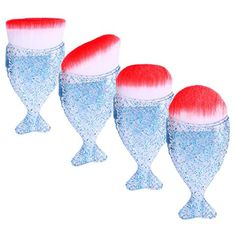 Owill Sequins Pattern Fish Scale Makeup Brush Powder Blush Cosmetic Brushes (Blue A) *** Details can be found by clicking on the image. (This is an affiliate link and I receive a commission for the sales) It Cosmetics Brushes, Eyeshadow Brushes, Makeup Cosmetics, Makeup Brushes, Cosmetic Brushes, Styling Brush, Blush Makeup, Hurricane Glass, Wine Glass