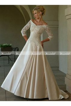 Off Shoulder A-line Taffeta Modest Lace Half Sleeves Wedding Dress - Dressescomeon