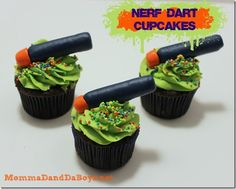 Nerf Dart CupcakesI am part of the and as such I receive both product and compensation in return for these posts. Nerf Birthday Party, 10th Birthday Parties, Birthday Ideas, 8th Birthday, Birthday Cakes, Cupcake Party, Party Cakes, Cupcake Cakes, Nerf Gun Cake