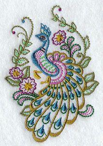 Peacock Garden Embroidered Cotton Terry Kitchen or by VelvetHearts, $16.00