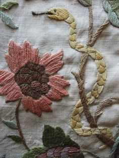 Large hand embroidered Bird, Deer & Floral picture panel, Jacobean in style, Cream linen background 3