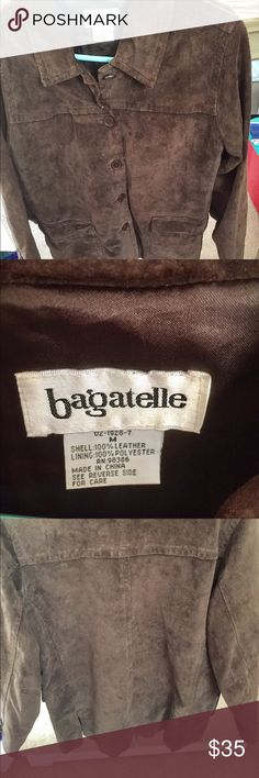 Genuine brown suede women's jacket. Sz. Medium. Bagatelle brown suede women's jacket. Size medium. Five buttons down the center. Two front functional pockets which close. Bagatelle Jackets & Coats Blazers