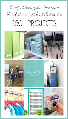 Read to get organized once and for all? Get help with these 150 home organization projects, ideas and tutorials at Refined Rooms! Organisation Hacks, Home Office Organization, Organizing Your Home, Bathroom Organization, Storage Organization, Organizing Tips, Organising, Tee Set, Organize Your Life