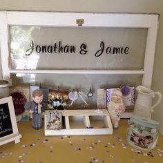 DIY Bridal Shower decoration: old window personalized with couples names