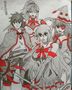 Konosuba Aqua, Kazuma,  Drakness,  Megumin