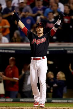 Brandon Guyer #6 of the Cleveland Indians reacts after scoring a run on a two-run home run hit by Rajai Davis #20 (not pictured) during the eighth inning against the Chicago Cubs in Game Seven of the 2016 World Series at Progressive Field on November 2, 2016 in Cleveland, Ohio. (Nov. 1, 2016 - Source: Elsa/Getty Images North America)