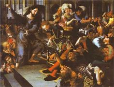 Christ Driving Merchants from the Temple - Jan van Hemessen