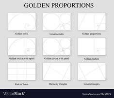 Golden proportions set golden section ration vector image on VectorStock Photography Composition Rules, Composition Design, Photography Basics, Creative Photography, Rules Of Composition, Elements Of Art, Elements And Principles, Sacred Geometry Tattoo, Abstract Geometric Art