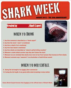 My friend's Shark Week drinking game... - Imgur