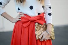 Red Bow Skirt. Would look great with our Caliber Collection Steel Bangles.  #bangles #fashion #style