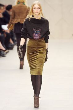 Who says owl sweaters aren't the cat's meow? Burberry Prorsum.