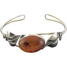 Vintage Genuine Honey Amber Sterling Silver Cuff Bracelet