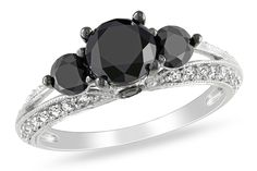 2 Carat Black and White Diamond 14K White Gold Engagement Ring