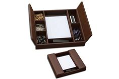 Dacasso Classic Chocolate Brown Leather Enhanced Conference Room Organizer -- Continue to the product at the image link. Office Essentials, Desk Clock, Desk Set, Business Gifts, Room Accessories, Corporate Gifts, Office Gifts, Room Organization, Wood Art