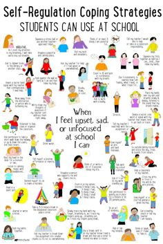 Coping strategies kids can use at school for self-regulation when they feel big emotions. Student Learning, Kids Learning, Teaching Special Education, Education Jobs, Teaching Kids, Education Positive, Higher Education, School Social Work, School Counseling Office