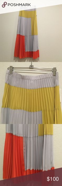 💋SALE💋Anthropologie maxi pleated skirt Rare maxi skirt from Anthropologie. Beautiful and vibrant color like a modern art picture. Wrinkle free really. Elastic waist. Brand new with tag. Anthropologie Skirts Maxi