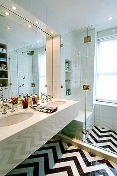 Graphic Chevron Bathroom Floor design Christina Murphy Interiors House & Home Home, Home Goods Decor, Chevron Bathroom, Bathrooms Remodel, Beautiful Bathrooms, Chevron Floor, Chevron Tile, Bathroom Design, Unusual Bathrooms