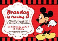 Micky Mouse Birthday invitation. $5.90, via Etsy.