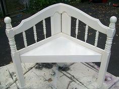 My Repurposed Life--white corner bench from a headboard