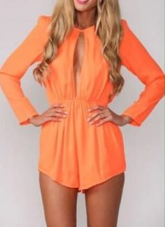 keyhole neckline orange long sleeve romper jumper #UNIQUE_WOMENS_FASHION http://stores.ebay.com/VibeUrbanClothing