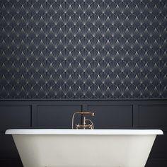 Rene by Graham & Brown - Night Fall - Wallpaper : Wallpaper Direct Bad Inspiration, Bathroom Inspiration, Modern Bathroom, Small Bathroom, Art Deco Bathroom, Gatsby, Downstairs Toilet, Graham Brown, Home Wallpaper